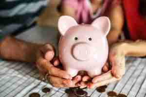 Hands holding pink piggy bank